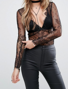 Glamorous Lace Body With Frill V Neck (ASOS)