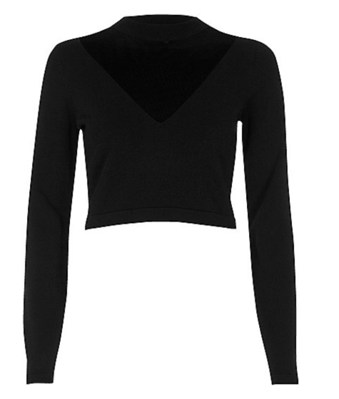 http://www.riverisland.com/women/knitwear/knitted-tops/black-v-neck-mesh-panel-crop-top-694450